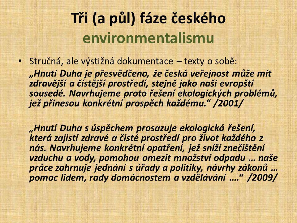 """Tři (a půl) fáze českého environmentalismu Stručná, ale výstižná dokumentace – texty o sobě: """"Hnutí Duha je přesvědčeno, že česká veřejnost může mít z"""