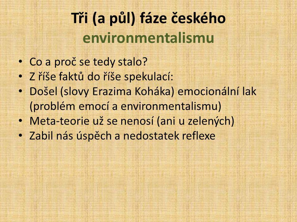 Tři (a půl) fáze českého environmentalismu Co a proč se tedy stalo? Z říše faktů do říše spekulací: Došel (slovy Erazima Koháka) emocionální lak (prob