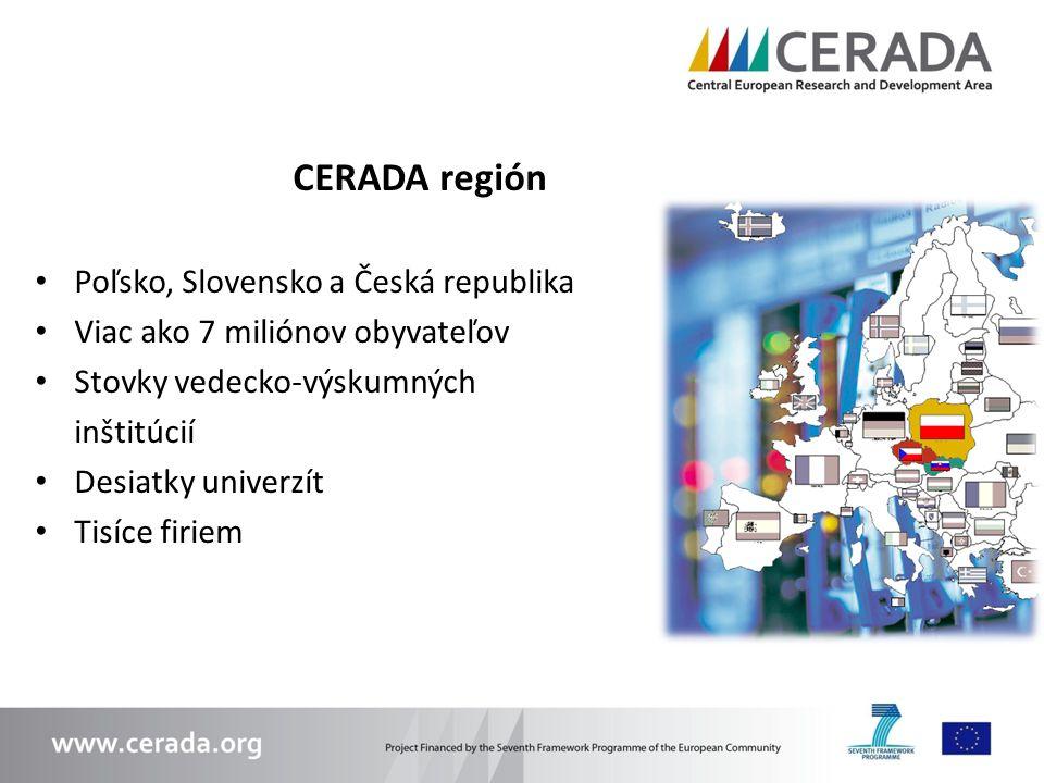CERADA región Poľsko, Slovensko a Česká republika Viac ako 7 miliónov obyvateľov Stovky vedecko-výskumných inštitúcií Desiatky univerzít Tisíce firiem