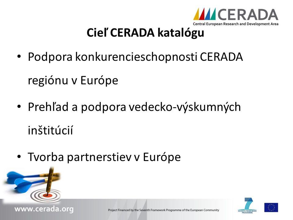 Cieľ CERADA katalógu Podpora konkurencieschopnosti CERADA regiónu v Európe Prehľad a podpora vedecko-výskumných inštitúcií Tvorba partnerstiev v Európ
