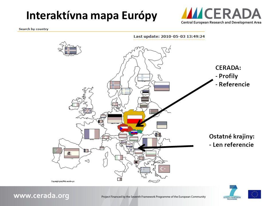 Interaktívna mapa Európy CERADA: - Profily - Referencie Ostatné krajiny: - Len referencie