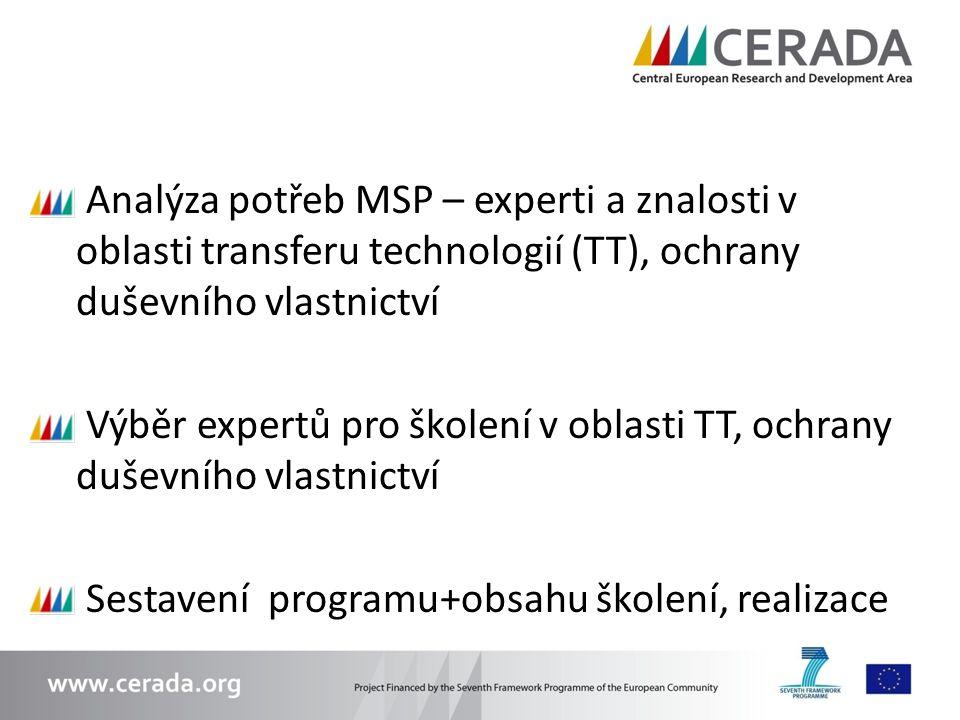 Analýza potřeb MSP – experti a znalosti v oblasti transferu technologií (TT), ochrany duševního vlastnictví Výběr expertů pro školení v oblasti TT, oc