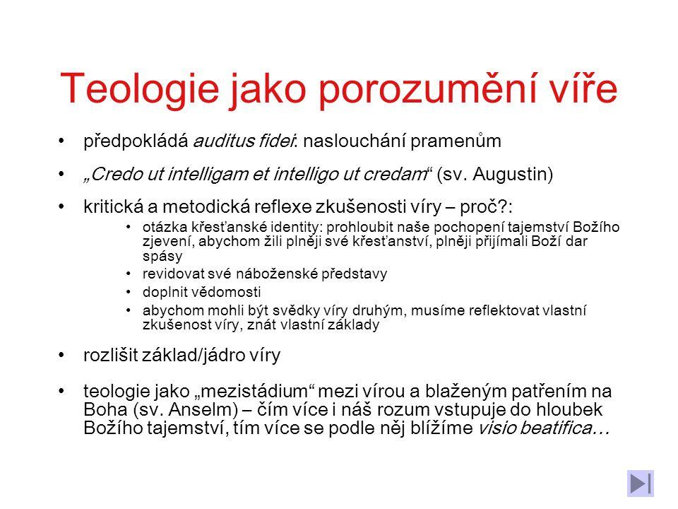 Obsah: 1.1.Teologie jako porozumění víře, intellectus fidei 1.2 Teologie jako věda 1.2.1 Úkol teologie 1.2.2 Předmět teologie – různá pojetí 1.3 Pluralita teologií 1.4 Proměny teologie – dějiny pojmu a bádání (úvod)
