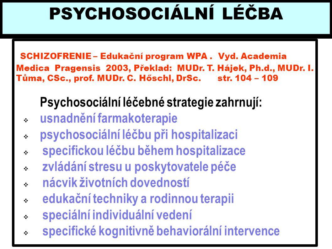 SCHIZOFRENIE – Edukační program WPA. Vyd. Academia Medica Pragensis 2003, Překlad: MUDr. T. Hájek, Ph.d., MUDr. I. Tůma, CSc., prof. MUDr. C. Hőschl,