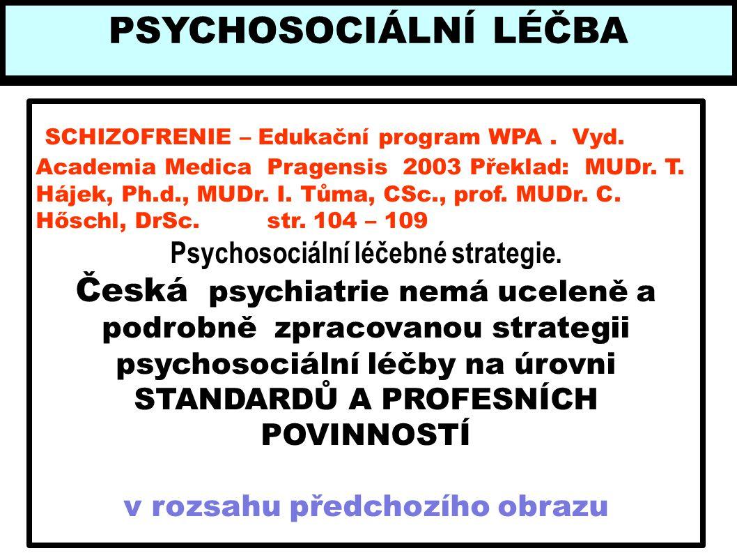 SCHIZOFRENIE – Edukační program WPA. Vyd. Academia Medica Pragensis 2003 Překlad: MUDr. T. Hájek, Ph.d., MUDr. I. Tůma, CSc., prof. MUDr. C. Hőschl, D