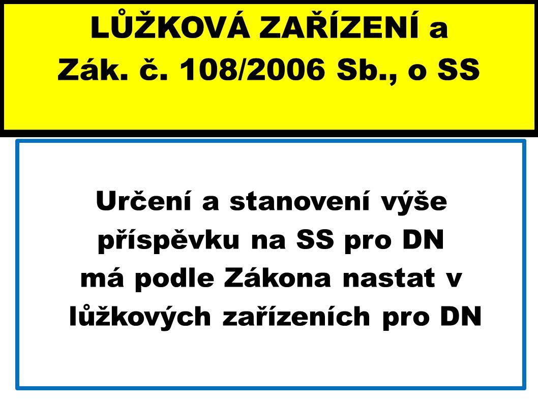 LŮŽKOVÁ ZAŘÍZENÍ a Zák. č. 108/2006 Sb., o SS Určení a stanovení výše příspěvku na SS pro DN má podle Zákona nastat v lůžkových zařízeních pro DN
