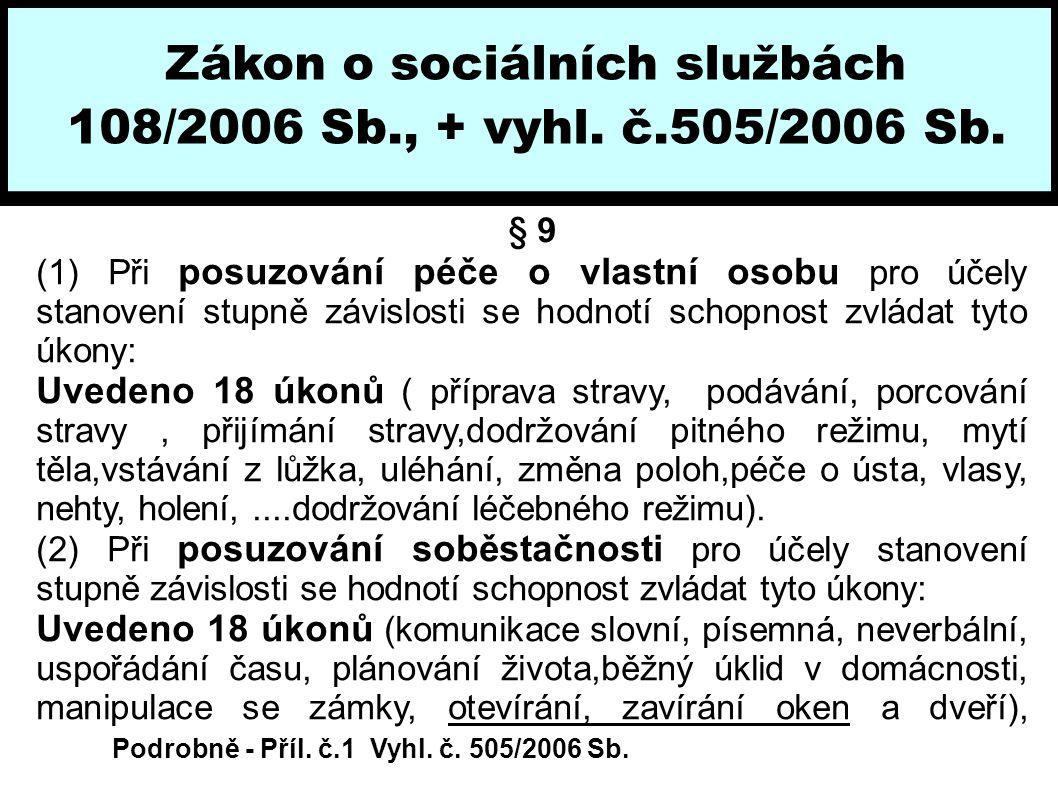 Zákon o sociálních službách 108/2006 Sb., + vyhl. č.505/2006 Sb. § 9 (1) Při posuzování péče o vlastní osobu pro účely stanovení stupně závislosti se