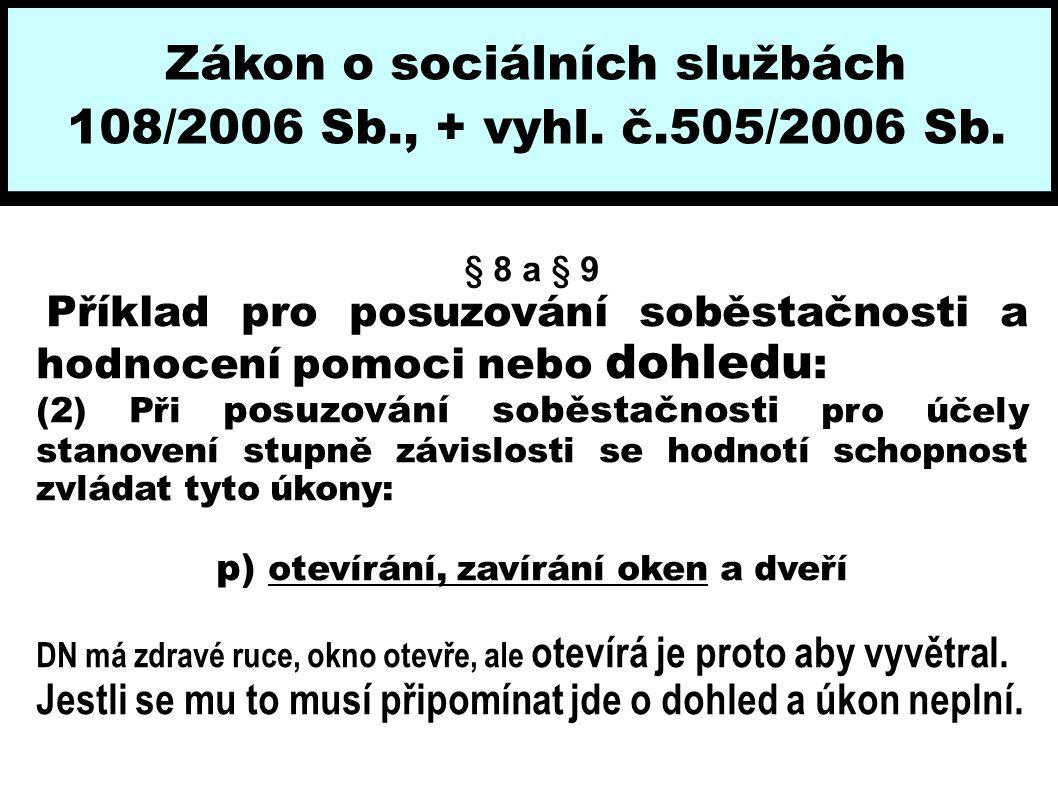 Zákon o sociálních službách 108/2006 Sb., + vyhl. č.505/2006 Sb. § 8 a § 9 Příklad pro posuzování soběstačnosti a hodnocení pomoci nebo dohledu : (2)