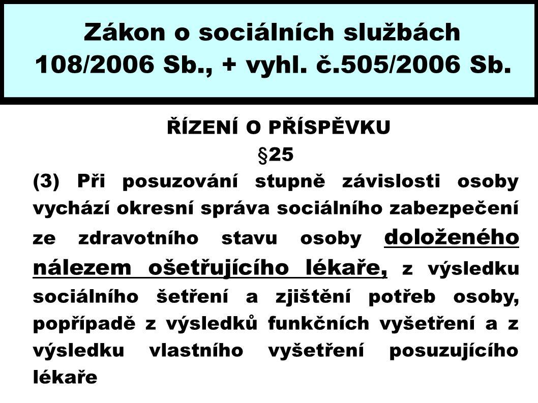 Zákon o sociálních službách 108/2006 Sb., + vyhl. č.505/2006 Sb. ŘÍZENÍ O PŘÍSPĚVKU §25 (3) Při posuzování stupně závislosti osoby vychází okresní spr