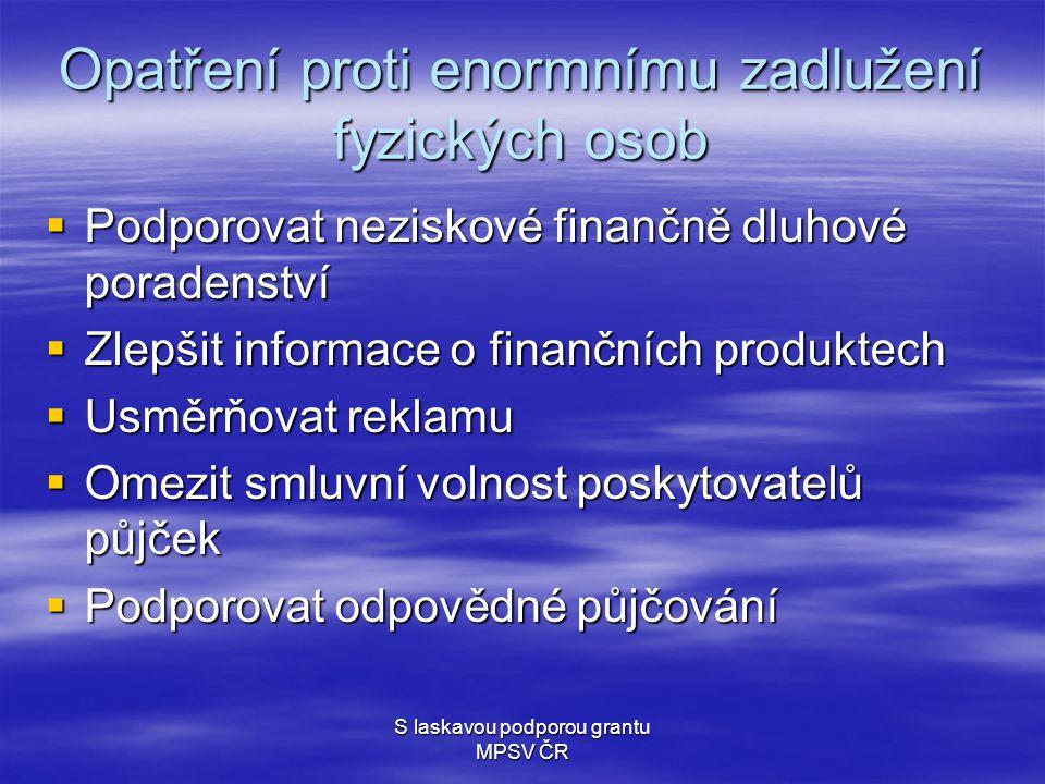 S laskavou podporou grantu MPSV ČR Opatření proti enormnímu zadlužení fyzických osob  Podporovat neziskové finančně dluhové poradenství  Zlepšit informace o finančních produktech  Usměrňovat reklamu  Omezit smluvní volnost poskytovatelů půjček  Podporovat odpovědné půjčování