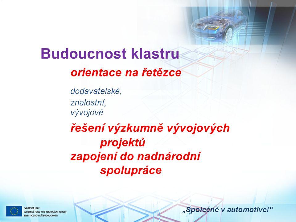 """Budoucnost klastru orientace na řetězce dodavatelské, znalostní, vývojové řešení výzkumně vývojových projektů zapojení do nadnárodní spolupráce """" Společně v automotive!"""