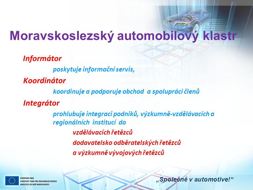 """Moravskoslezský automobilový klastr """"Společně v automotive! Informátor poskytuje informační servis, Koordinátor koordinuje a podporuje obchod a spolupráci členů Integrátor prohlubuje integraci podniků, výzkumně-vzdělávacích a regionálních institucí do vzdělávacích řetězců dodavatelsko odběratelských řetězců a výzkumně vývojových řetězců"""