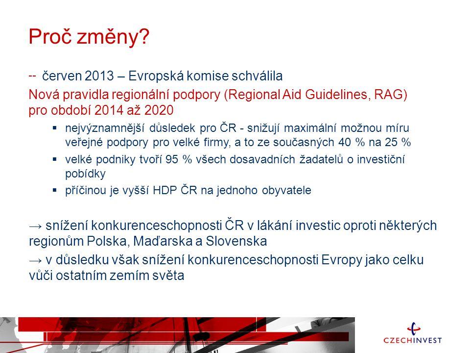 Proč změny? červen 2013 – Evropská komise schválila Nová pravidla regionální podpory (Regional Aid Guidelines, RAG) pro období 2014 až 2020  nejvýzna