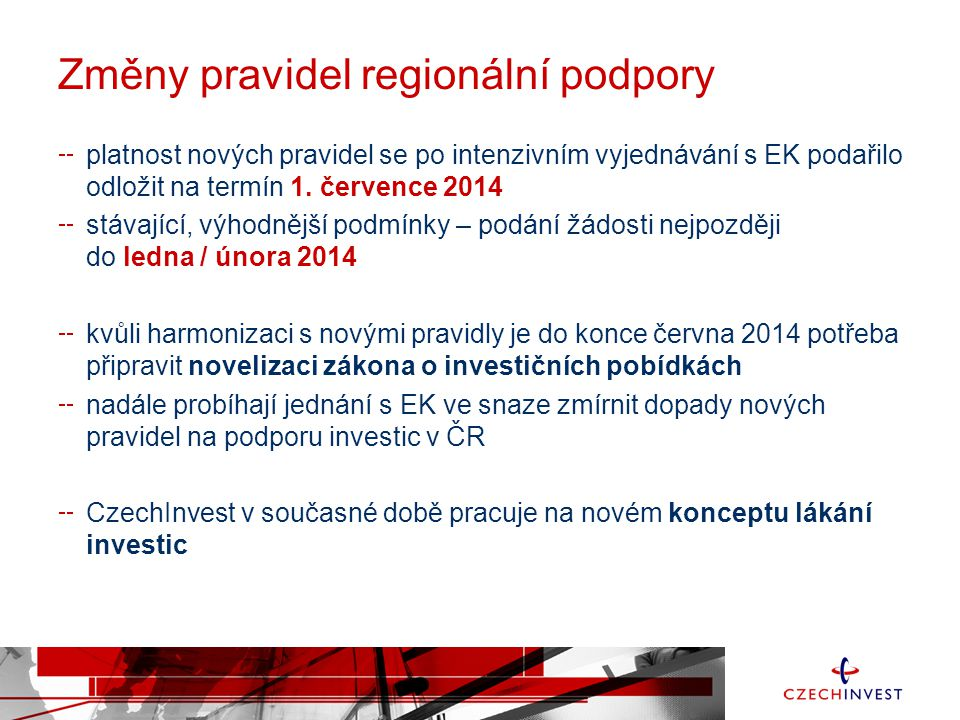Změny pravidel regionální podpory platnost nových pravidel se po intenzivním vyjednávání s EK podařilo odložit na termín 1. července 2014 stávající, v