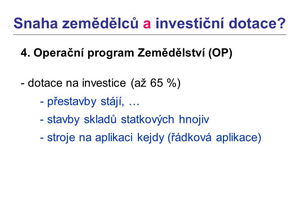 Snaha zemědělců a investiční dotace. 4.