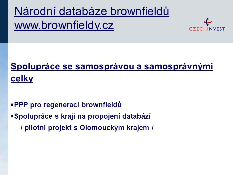 Národní databáze brownfieldů www.brownfieldy.cz Spolupráce se samosprávou a samosprávnými celky  PPP pro regeneraci brownfieldů  Spolupráce s kraji na propojení databází / pilotní projekt s Olomouckým krajem /