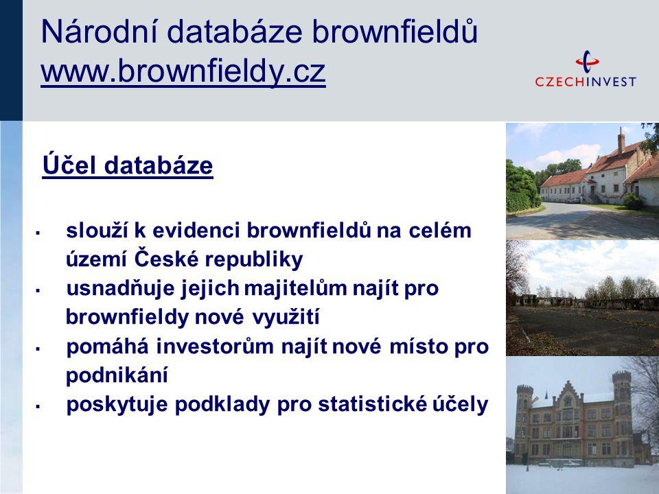 Účel databáze  slouží k evidenci brownfieldů na celém území České republiky  usnadňuje jejich majitelům najít pro brownfieldy nové využití  pomáhá investorům najít nové místo pro podnikání  poskytuje podklady pro statistické účely Národní databáze brownfieldů www.brownfieldy.cz