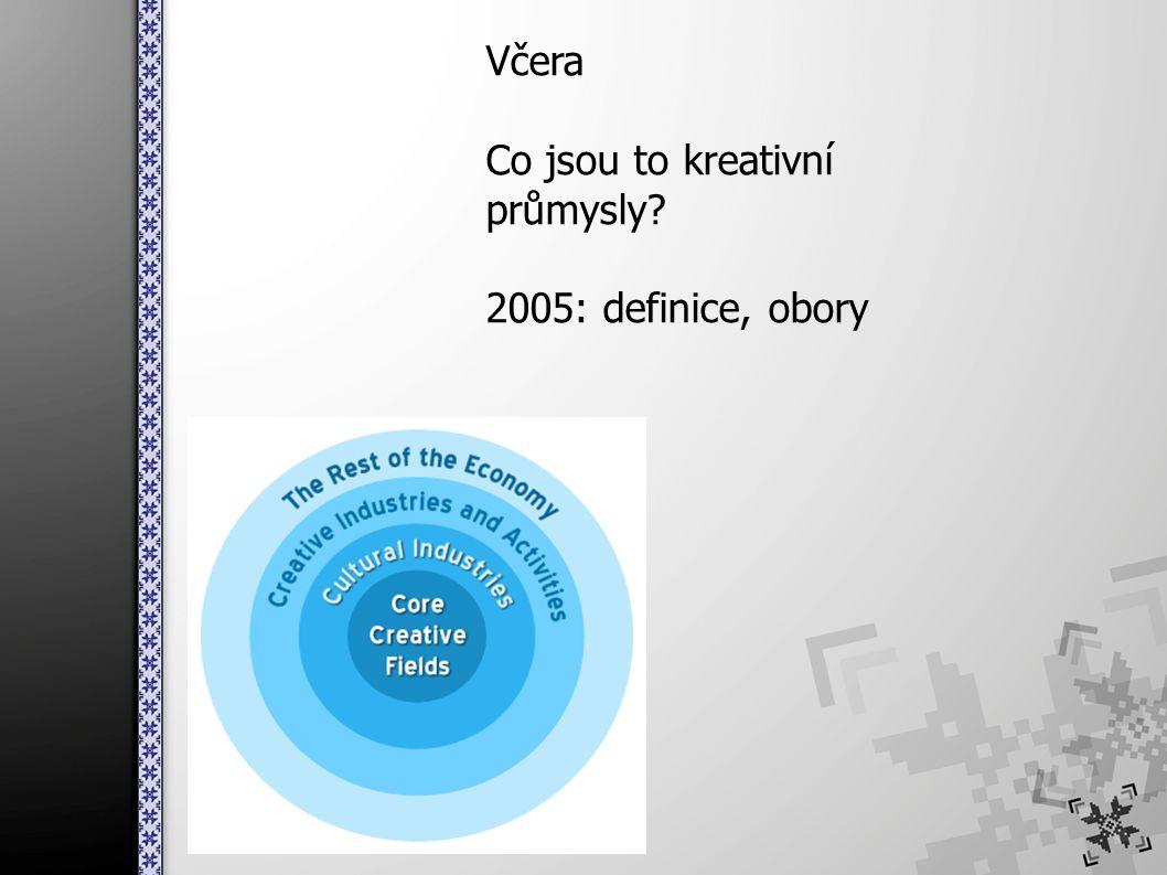 Včera Co jsou to kreativní průmysly 2005: definice, obory