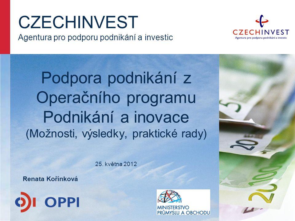 CZECHINVEST Agentura pro podporu podnikání a investic Renata Kořínková Podpora podnikání z Operačního programu Podnikání a inovace (Možnosti, výsledky, praktické rady) 25.