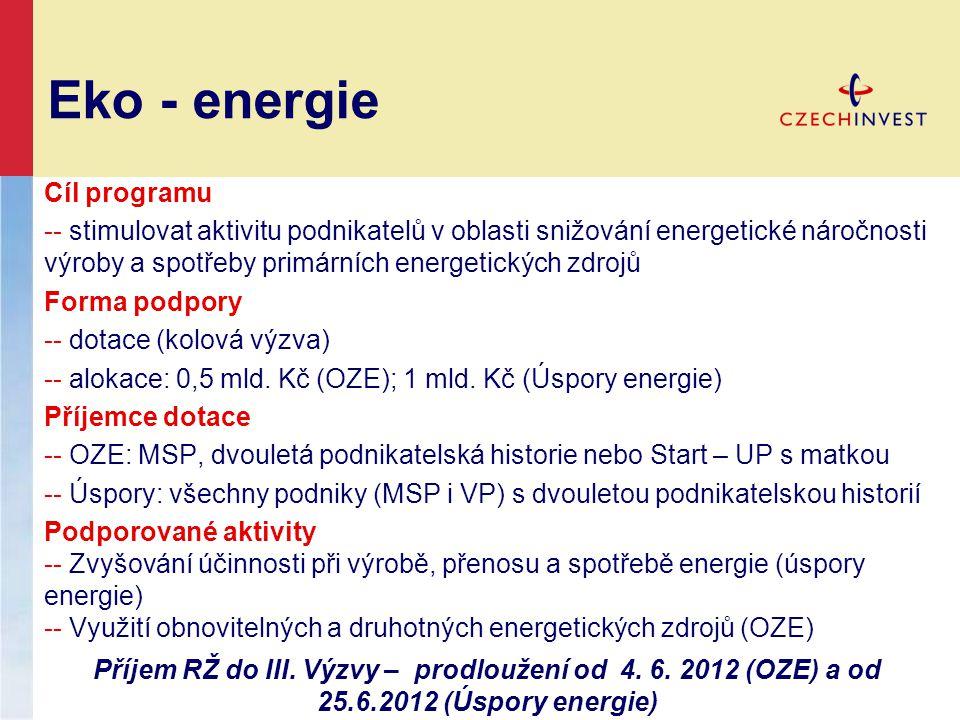 Eko - energie Cíl programu -- stimulovat aktivitu podnikatelů v oblasti snižování energetické náročnosti výroby a spotřeby primárních energetických zdrojů Forma podpory -- dotace (kolová výzva) -- alokace: 0,5 mld.