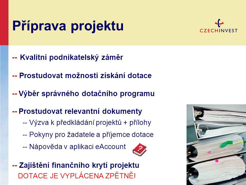 Příprava projektu -- Kvalitní podnikatelský záměr -- Prostudovat možnosti získání dotace -- Výběr správného dotačního programu -- Prostudovat relevant