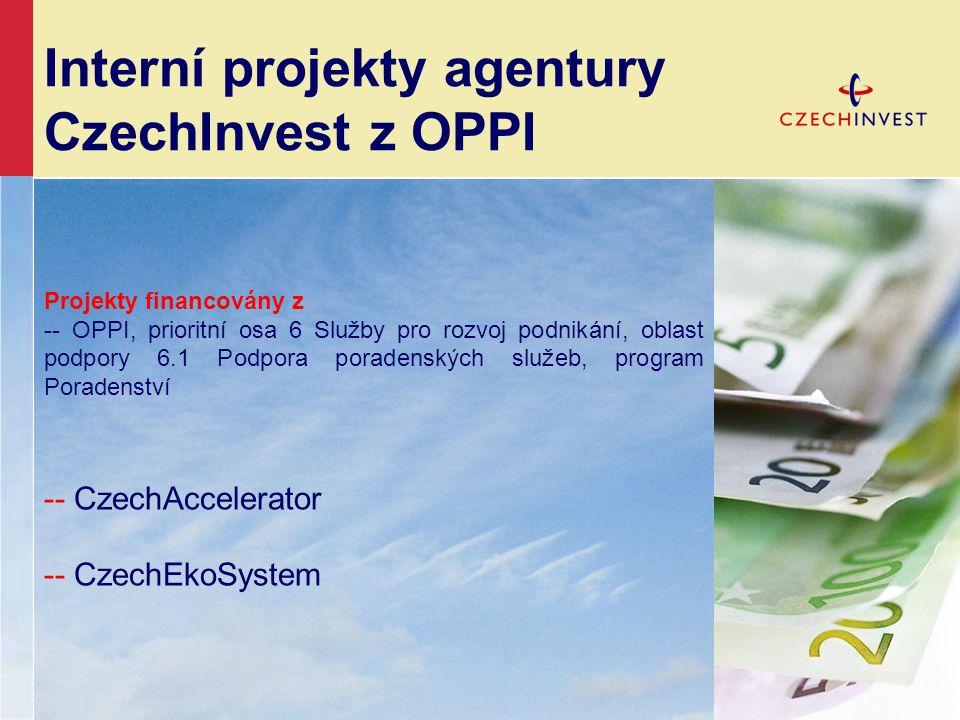 Interní projekty agentury CzechInvest z OPPI Projekty financovány z -- OPPI, prioritní osa 6 Služby pro rozvoj podnikání, oblast podpory 6.1 Podpora poradenských služeb, program Poradenství -- CzechAccelerator -- CzechEkoSystem