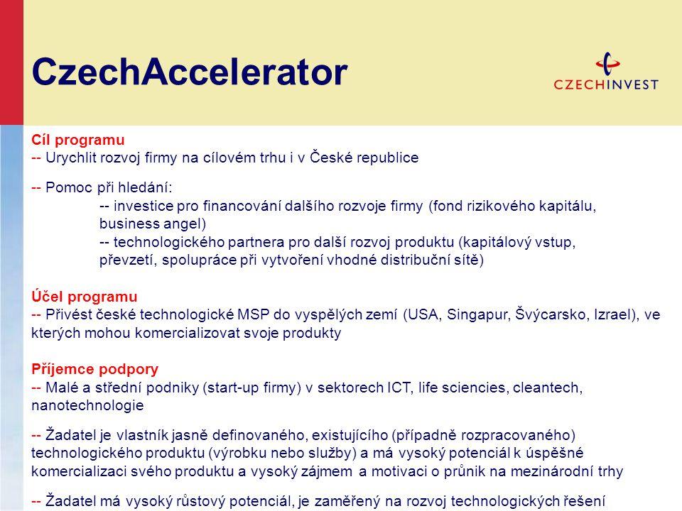 CzechAccelerator Cíl programu -- Urychlit rozvoj firmy na cílovém trhu i v České republice -- Pomoc při hledání: -- investice pro financování dalšího