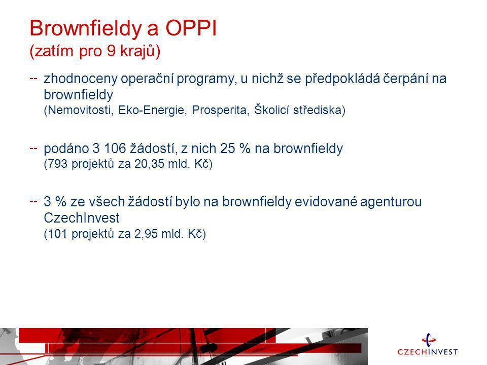 Brownfieldy a OPPI (zatím pro 9 krajů) zhodnoceny operační programy, u nichž se předpokládá čerpání na brownfieldy (Nemovitosti, Eko-Energie, Prosperi