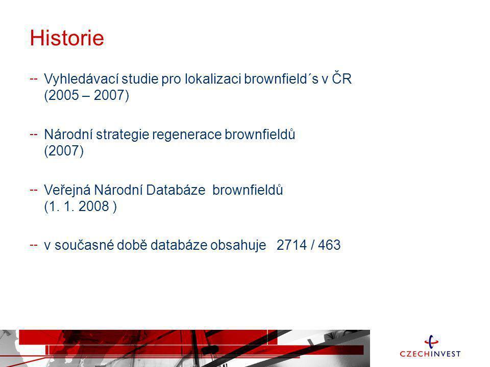 Historie Vyhledávací studie pro lokalizaci brownfield´s v ČR (2005 – 2007) Národní strategie regenerace brownfieldů (2007) Veřejná Národní Databáze br