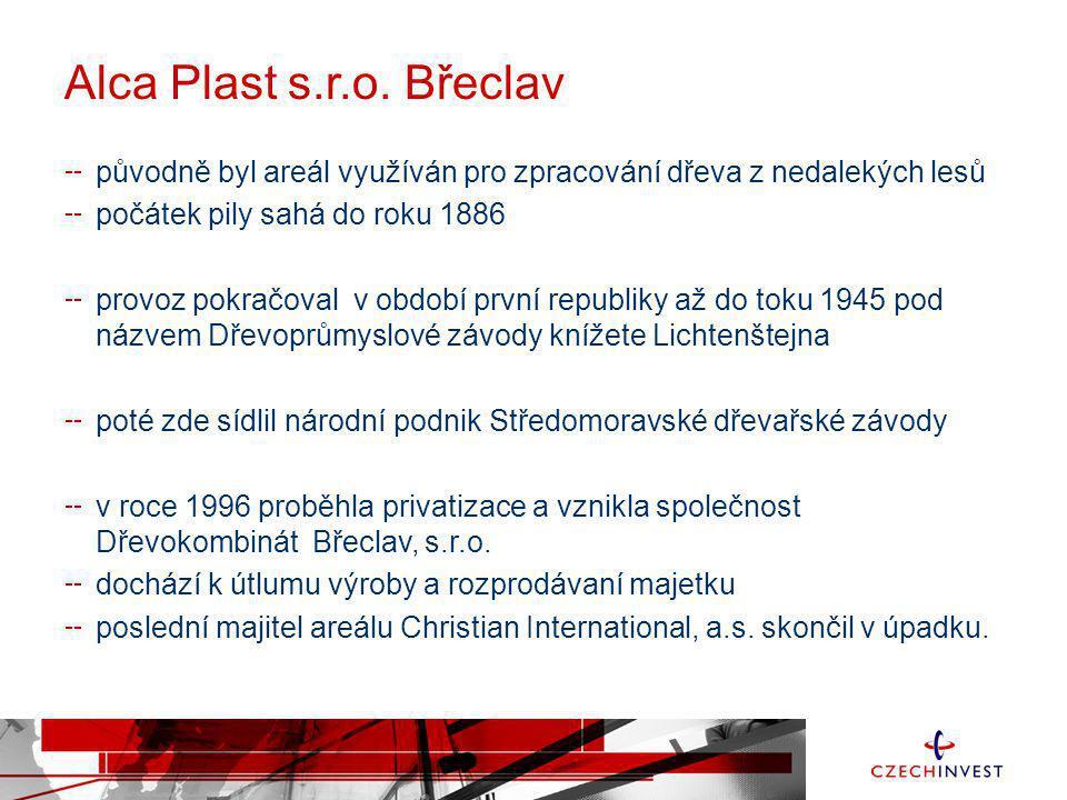 Alca Plast s.r.o. Břeclav původně byl areál využíván pro zpracování dřeva z nedalekých lesů počátek pily sahá do roku 1886 provoz pokračoval v období