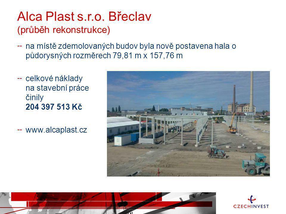Alca Plast s.r.o. Břeclav (průběh rekonstrukce) na místě zdemolovaných budov byla nově postavena hala o půdorysných rozměrech 79,81 m x 157,76 m celko