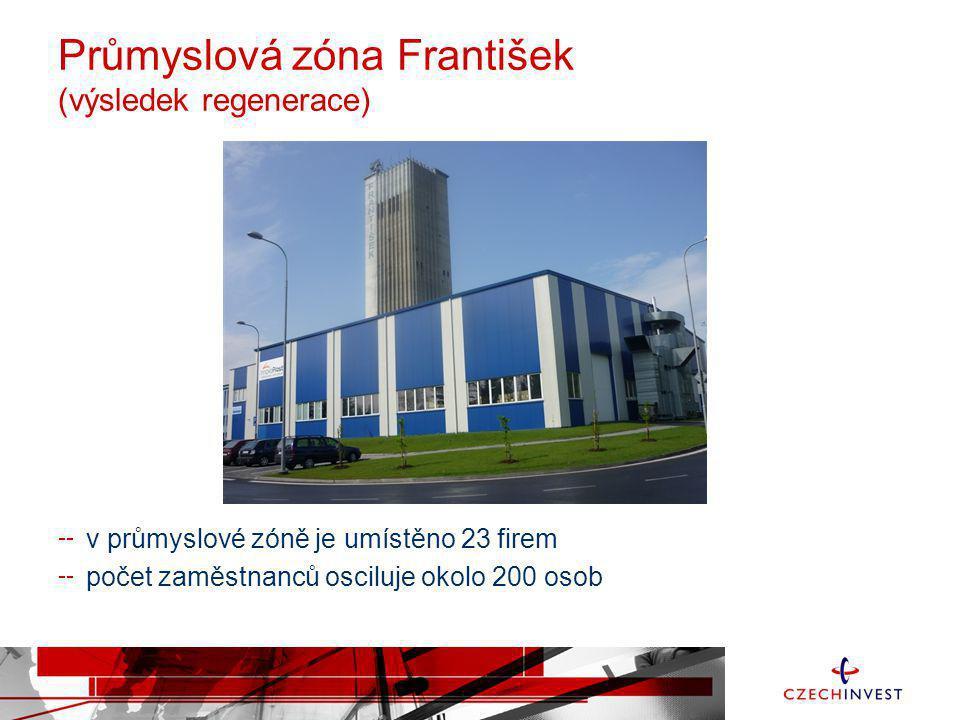 Průmyslová zóna František (výsledek regenerace) v průmyslové zóně je umístěno 23 firem počet zaměstnanců osciluje okolo 200 osob