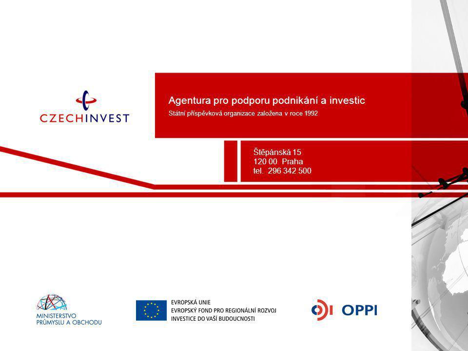 Agentura pro podporu podnikání a investic Státní příspěvková organizace založena v roce 1992 Štěpánská 15 120 00 Praha tel. 296 342 500
