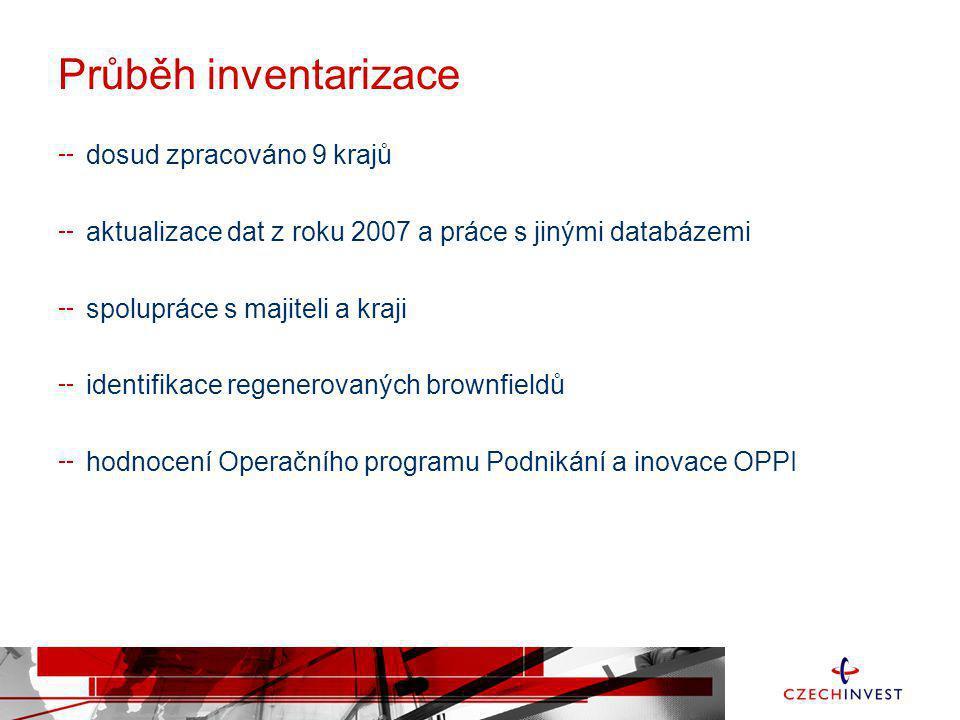 Průběh inventarizace dosud zpracováno 9 krajů aktualizace dat z roku 2007 a práce s jinými databázemi spolupráce s majiteli a kraji identifikace regen