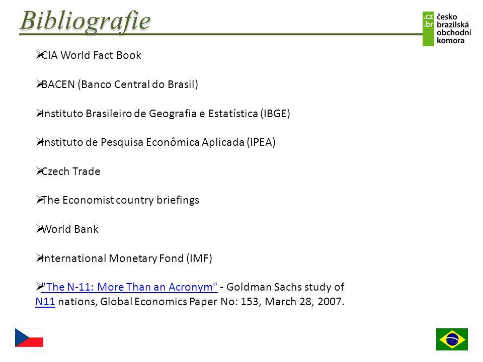 Bibliografie  CIA World Fact Book  BACEN (Banco Central do Brasil)  Instituto Brasileiro de Geografia e Estatística (IBGE)  Instituto de Pesquisa