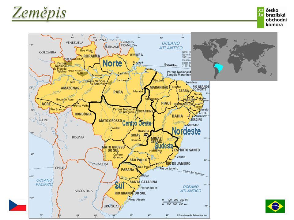  Plocha: 8,511,965 km 2  Hranice: Argentina 1,261 km, Bolivie 3,423 km, Kolumbie, 1,644 km, Francouská Guiana 730 km, Guyana 1,606 km, Paraguay 1,365 km, Peru 2,995 km, Surinam 593 km, Uruguay 1,068 km, Venezuela 2,200 km  Klima: obecně tropické; mírné na jihu