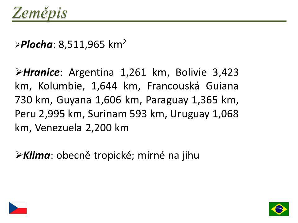  Plocha: 8,511,965 km 2  Hranice: Argentina 1,261 km, Bolivie 3,423 km, Kolumbie, 1,644 km, Francouská Guiana 730 km, Guyana 1,606 km, Paraguay 1,36