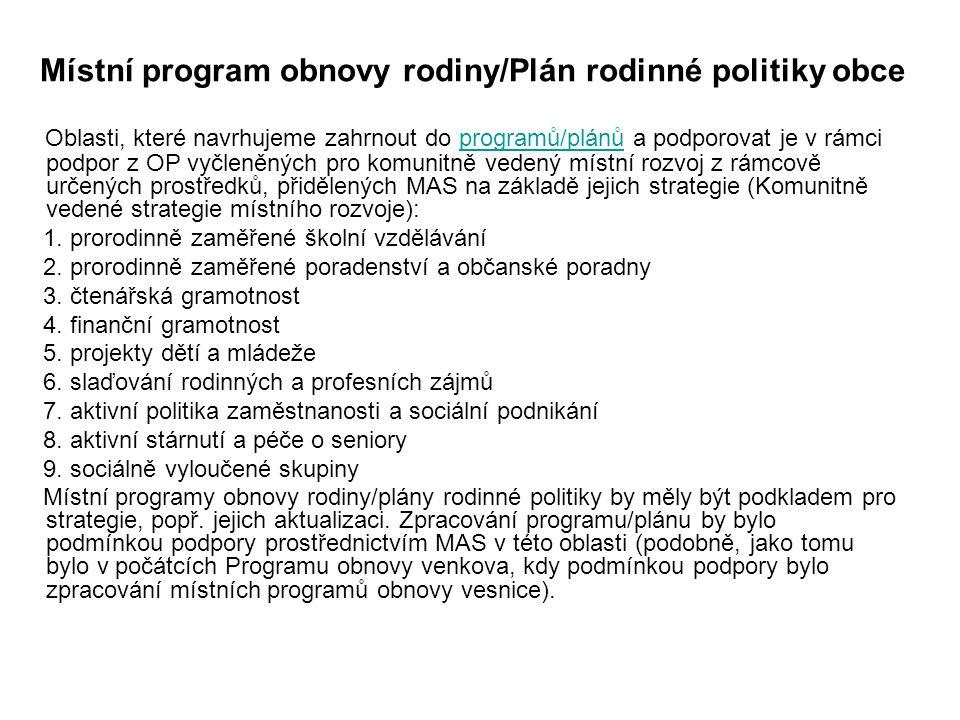 Místní program obnovy rodiny/Plán rodinné politiky obce Oblasti, které navrhujeme zahrnout do programů/plánů a podporovat je v rámci podpor z OP vyčleněných pro komunitně vedený místní rozvoj z rámcově určených prostředků, přidělených MAS na základě jejich strategie (Komunitně vedené strategie místního rozvoje):programů/plánů 1.