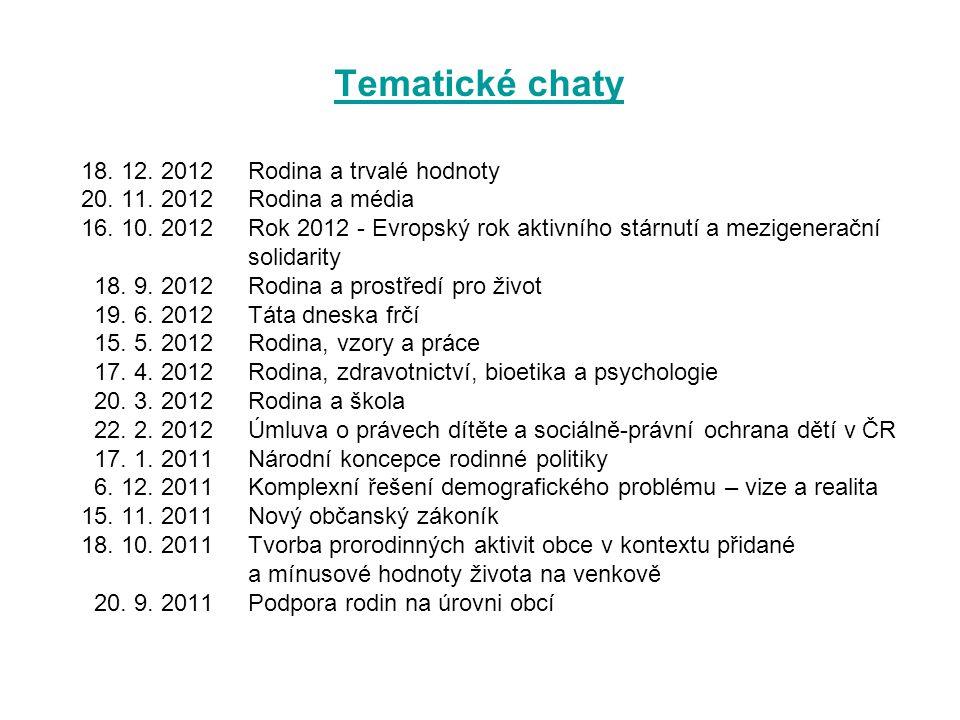 Tematické chaty 18.12. 2012 Rodina a trvalé hodnoty 20.
