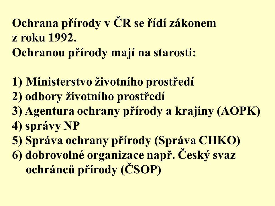 Ochrana přírody v ČR se řídí zákonem z roku 1992.