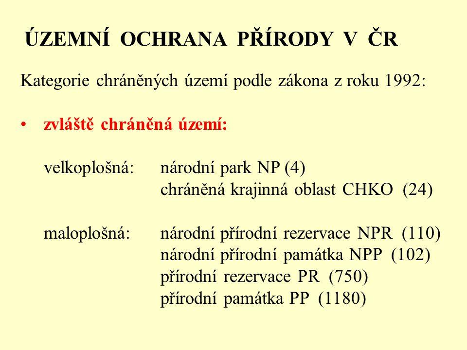 ÚZEMNÍ OCHRANA PŘÍRODY V ČR Kategorie chráněných území podle zákona z roku 1992: zvláště chráněná území: velkoplošná:národní park NP (4) chráněná krajinná oblast CHKO (24) maloplošná:národní přírodní rezervace NPR (110) národní přírodní památka NPP (102) přírodní rezervace PR (750) přírodní památka PP (1180)