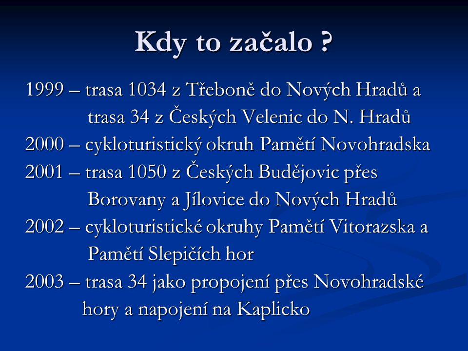 Kdy to začalo .1999 – trasa 1034 z Třeboně do Nových Hradů a trasa 34 z Českých Velenic do N.