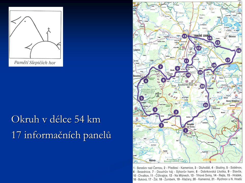 Okruh v délce 54 km 17 informačních panelů