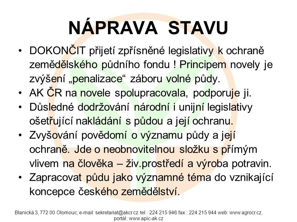 Blanická 3, 772 00 Olomouc, e-mail: sekretariat@akcr.cz tel.: 224 215 946 fax.: 224 215 944 web: www.agrocr.cz, portál: www.apic-ak.cz NÁPRAVA STAVU DOKONČIT přijetí zpřísněné legislativy k ochraně zemědělského půdního fondu .