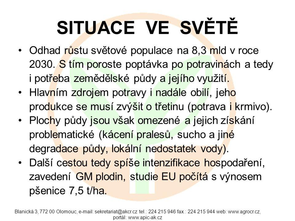 Blanická 3, 772 00 Olomouc, e-mail: sekretariat@akcr.cz tel.: 224 215 946 fax.: 224 215 944 web: www.agrocr.cz, portál: www.apic-ak.cz SITUACE VE SVĚTĚ Odhad růstu světové populace na 8,3 mld v roce 2030.