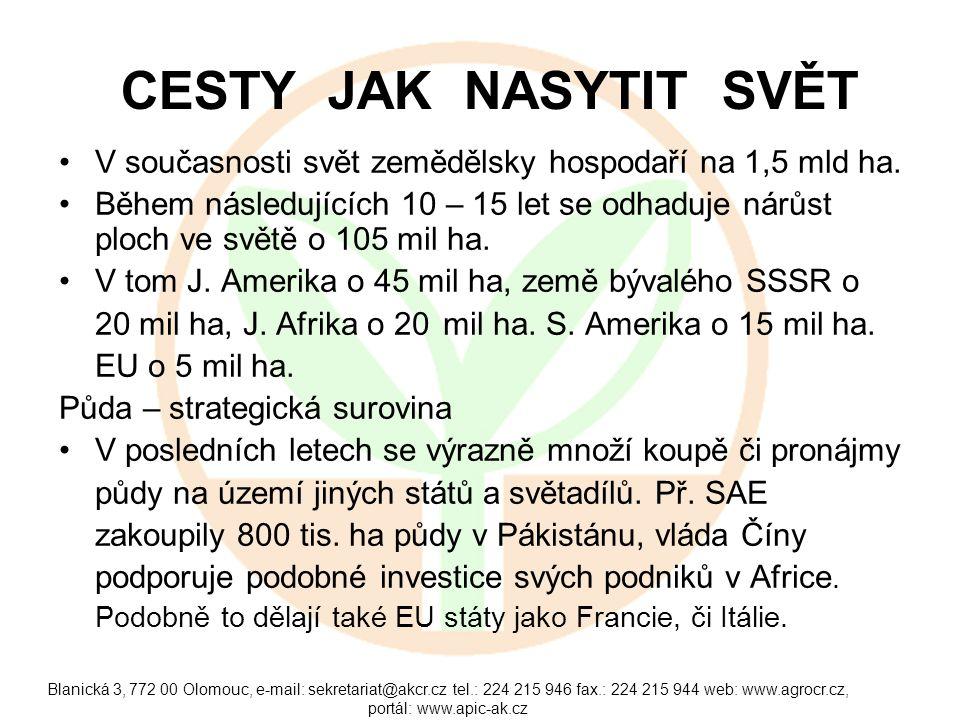Blanická 3, 772 00 Olomouc, e-mail: sekretariat@akcr.cz tel.: 224 215 946 fax.: 224 215 944 web: www.agrocr.cz, portál: www.apic-ak.cz VZTAH ČLOVĚKA K PŮDĚ Tradiční rovnice: půda - zemědělství - potraviny – člověk.