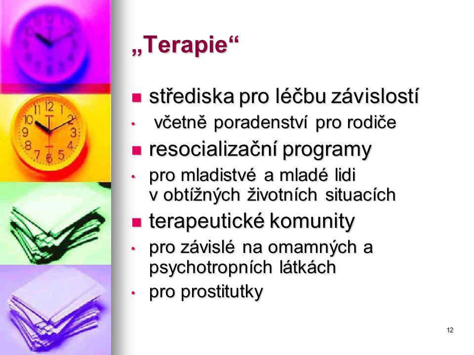 """12 """"Terapie střediska pro léčbu závislostí střediska pro léčbu závislostí včetně poradenství pro rodiče včetně poradenství pro rodiče resocializační programy resocializační programy pro mladistvé a mladé lidi v obtížných životních situacích pro mladistvé a mladé lidi v obtížných životních situacích terapeutické komunity terapeutické komunity pro závislé na omamných a psychotropních látkách pro závislé na omamných a psychotropních látkách pro prostitutky pro prostitutky"""