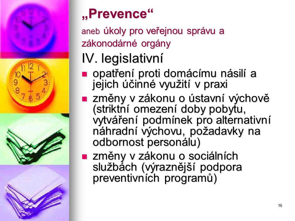 """16 """"Prevence aneb úkoly pro veřejnou správu a zákonodárné orgány IV."""