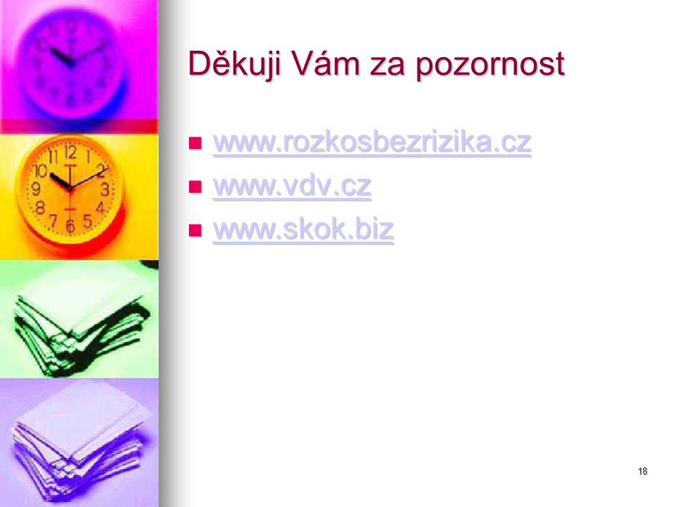 18 Děkuji Vám za pozornost www.rozkosbezrizika.cz www.rozkosbezrizika.cz www.rozkosbezrizika.cz www.vdv.cz www.vdv.cz www.vdv.cz www.skok.biz www.skok.biz www.skok.biz
