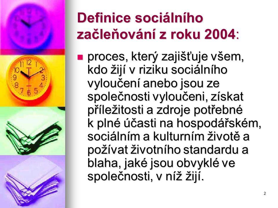 2 Definice sociálního začleňování z roku 2004: proces, který zajišťuje všem, kdo žijí v riziku sociálního vyloučení anebo jsou ze společnosti vyloučeni, získat příležitosti a zdroje potřebné k plné účasti na hospodářském, sociálním a kulturním životě a požívat životního standardu a blaha, jaké jsou obvyklé ve společnosti, v níž žijí.